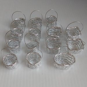 Other - 14 Mini Silver Tone Metal Woven Baskets